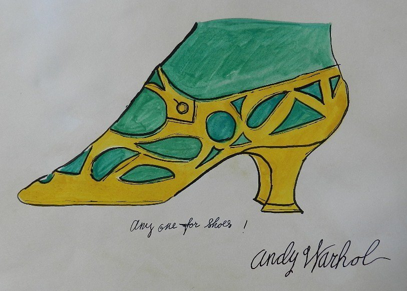 95: Watercolor/Ink Any one for shoes Signed Andy Warhol