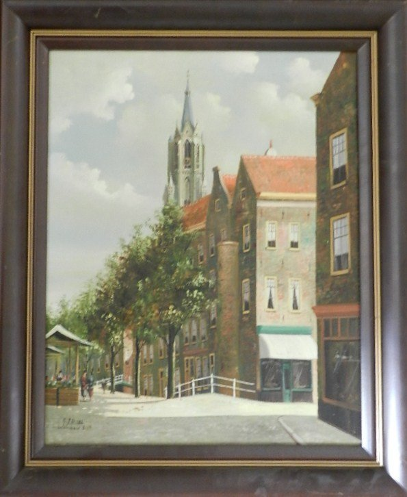 103: Acrylic on Canvas ,Street in Delft,
