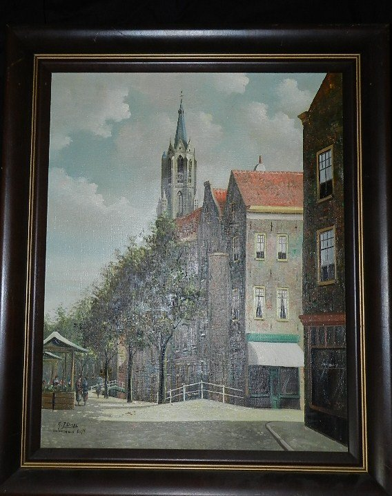 103: Acrylic on Canvas ,Street in Delft, - 2