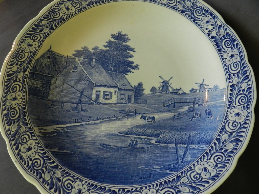 4: 19th C. Delft Blue Decorated Charger