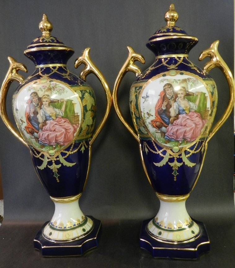 5: Pair of Sevres Type Gilt & Cobalt Pictorial Urns