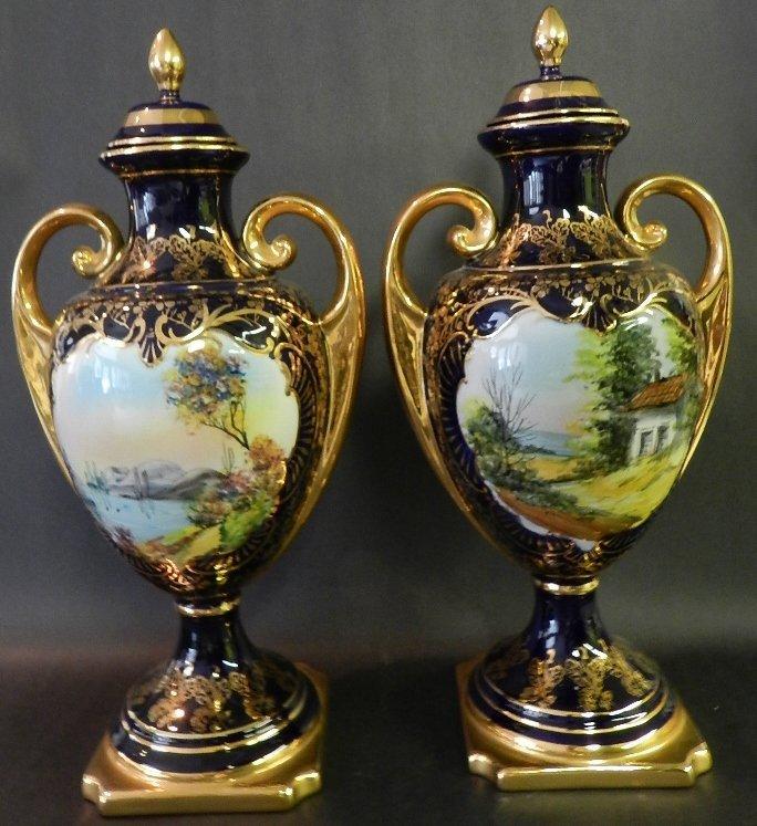 6: Pair of French Porcelain Type Gilt Landscape Urns