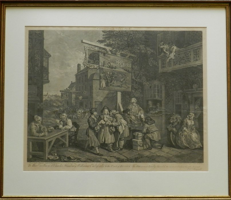 """12: Charles Grignion """"Canvassing for Votes"""" 1758"""