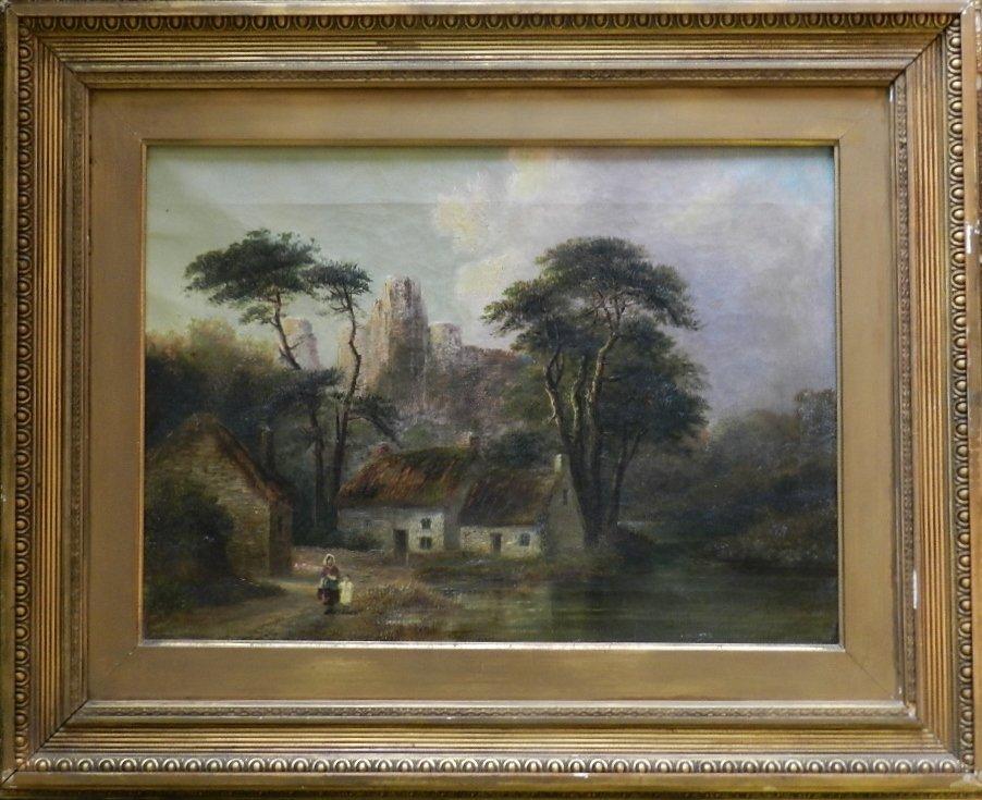 """15: FREDERICK MERCER """"Thirwall Castle"""" Oil on Canvas"""