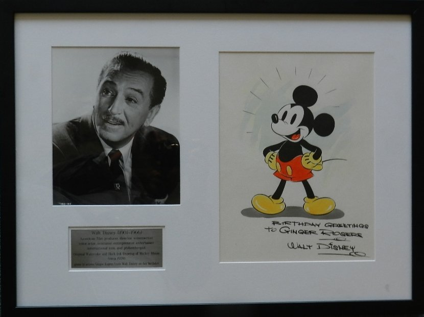 211: Mickey Mouse Watercolor Signed Walt Disney