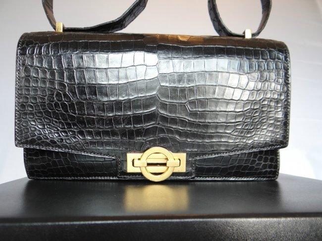 249: Vintage Hermes Black Crocodile Handbag