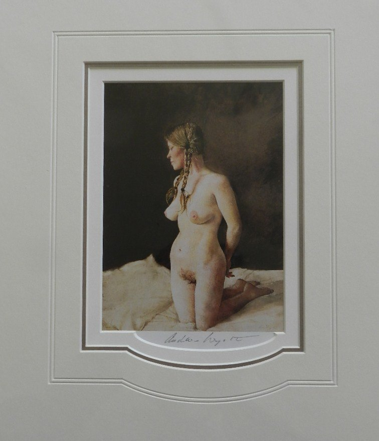"""6: Andrew Wyeth """"On Her Knees"""" Pencil Signed"""