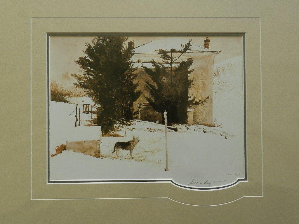"9: Andrew Wyeth ""Kuerners Dog"" Pencil Signed"