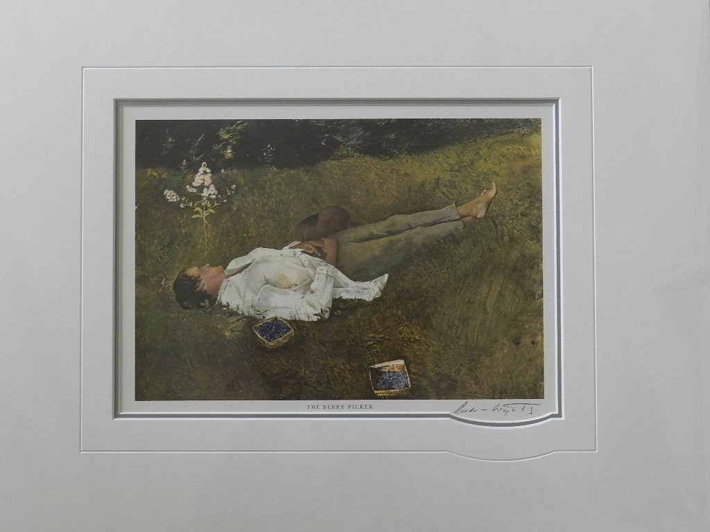 """19: Andrew Wyeth """"The Berry Picker"""" Pencil Signed"""