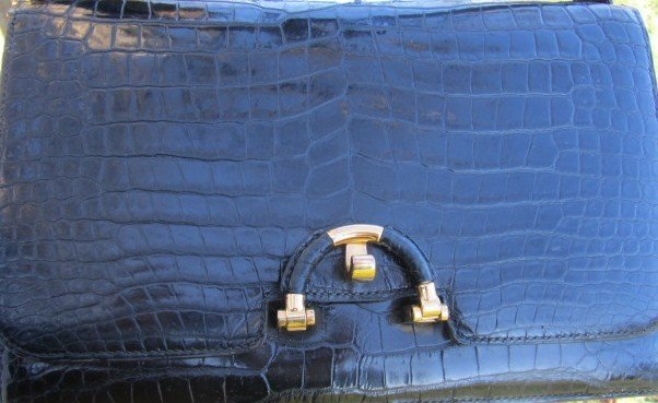 180: Hermes Crocodile Porosus Vintage Clutch Bag
