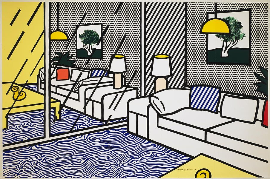 119: LICHTENSTEIN Wallpaper with Blue Floor Interior