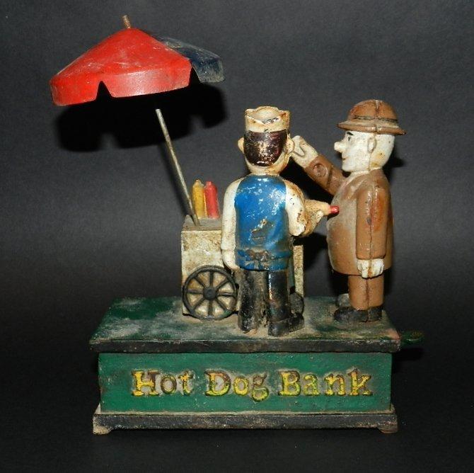 77: Early Cast Iron Hot Dog Mechanical Bank - 2