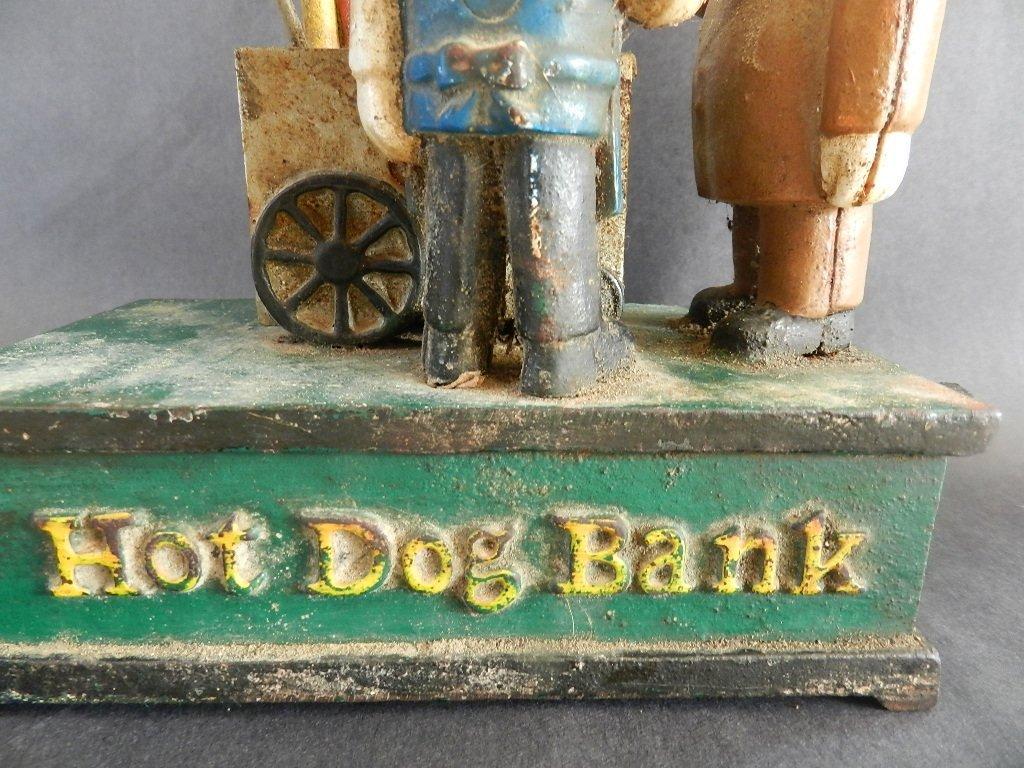 77: Early Cast Iron Hot Dog Mechanical Bank - 5