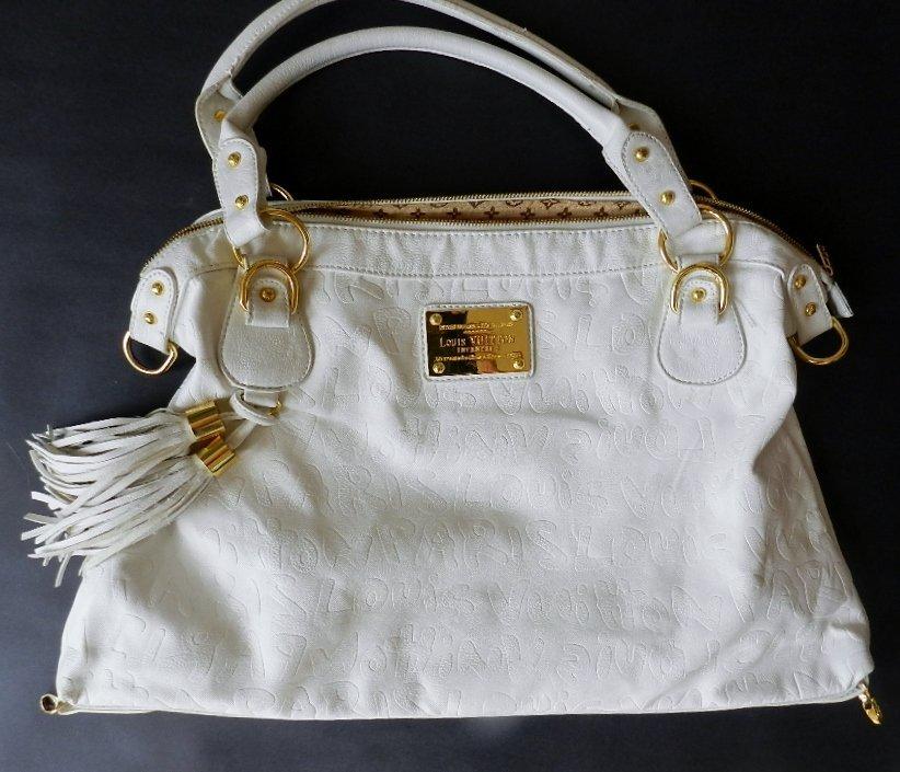 "103: Louis Vuitton ""Inventeur"" White Handbag"