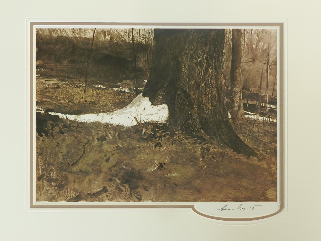 """1: Andrew Wyeth """"Snow Shoe"""" Pen Signed"""