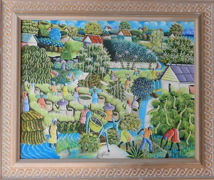 13: Bien-Aime Sylvain (Haitian, b. 1936) Oil on Masonit
