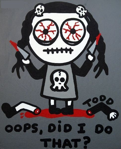 """15: Todd Goldman,""""Oops, Did I Do That?"""", Acrylic on Can"""
