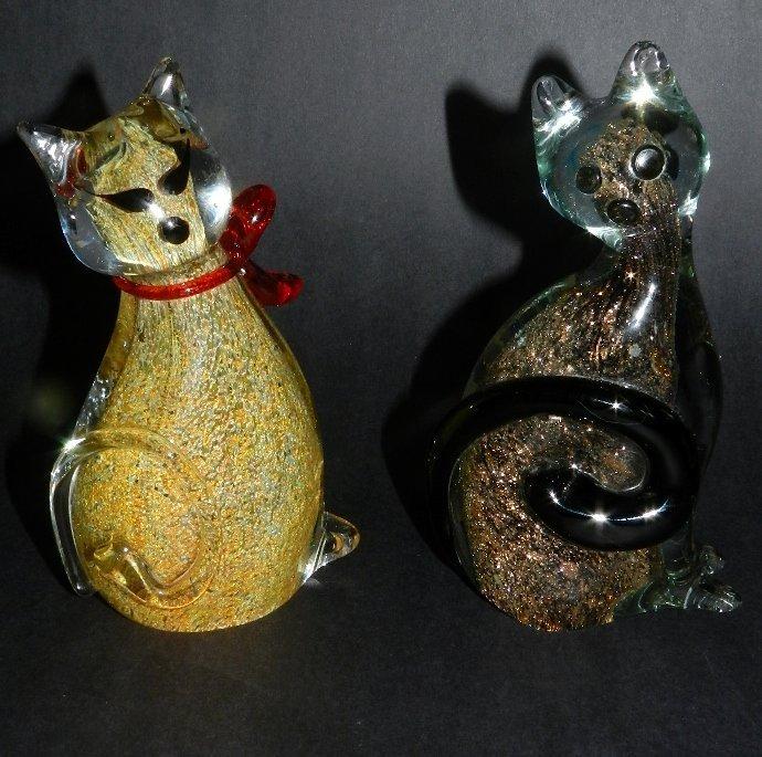 5: Murano Glass Two Cats