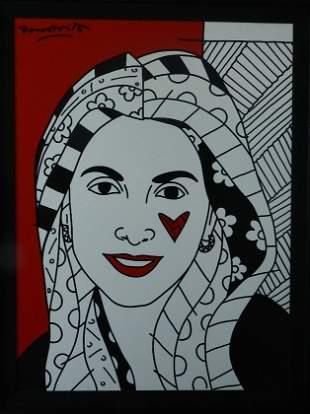 170: Romero Britto Original Acrylic on Canvas 40 x 30