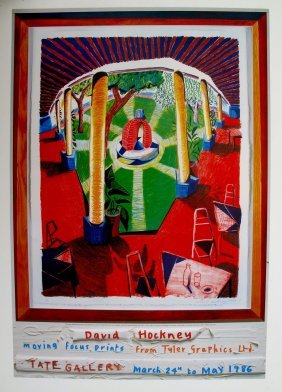 """1: DAVID HOCKNEY """"View of Hotel Well III""""  offset litho"""