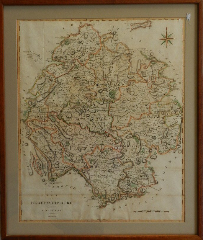 23: Early Engraved Hand Colored Map Herefordshire