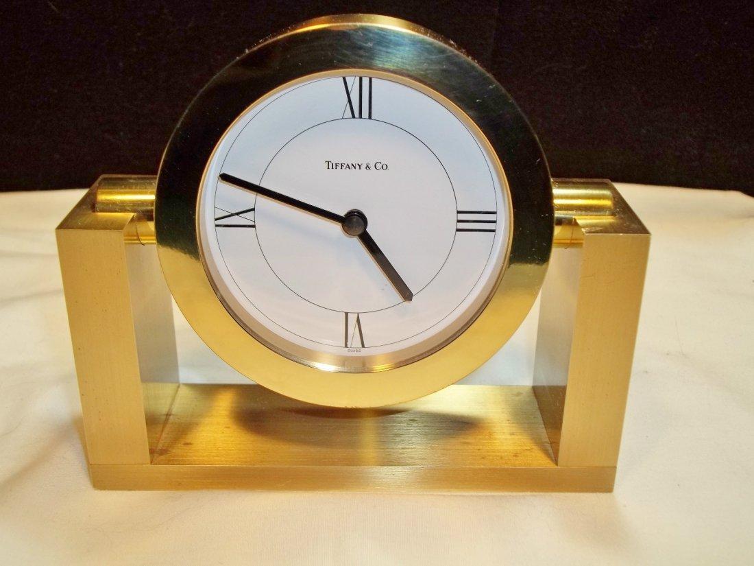 34: Tiffany & Co. Brass Desk Clock Circa 1989