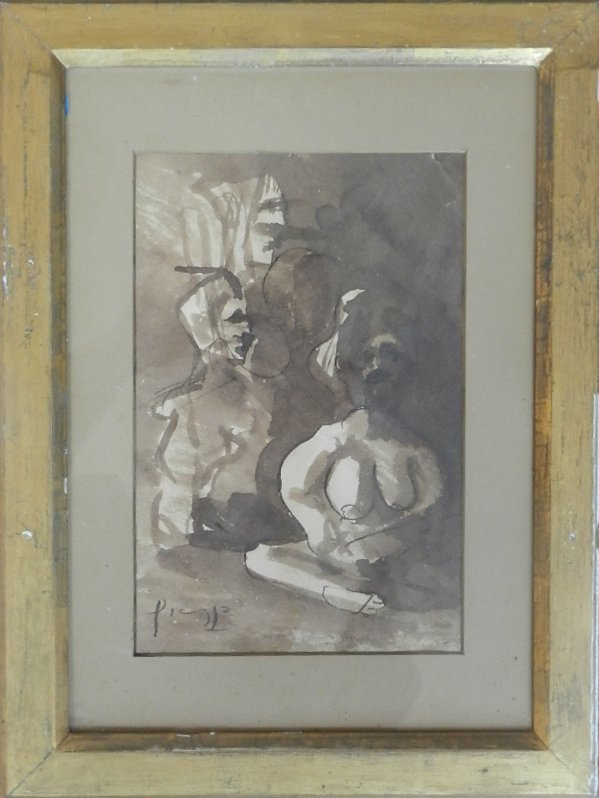 52: Pablo Ruiz Picasso (1881-1973) Ink & Gouache