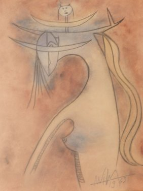 "19: Wilfredo Lam Watercolor ""Untitled"""