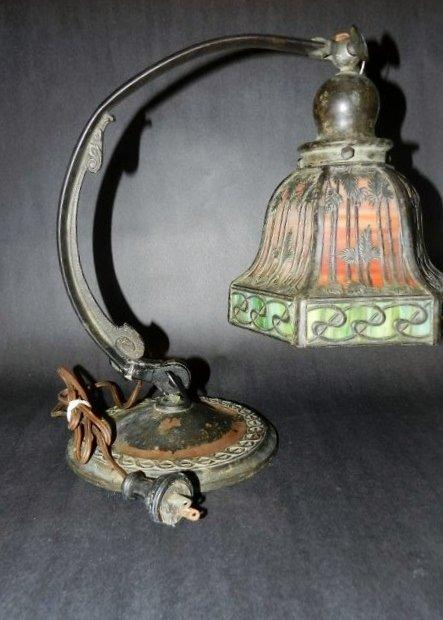 144: Early Signed Handel Desk Lamp