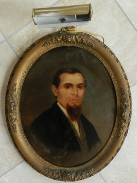 22: 19th C. Oil on Board Portrait of a Gentleman