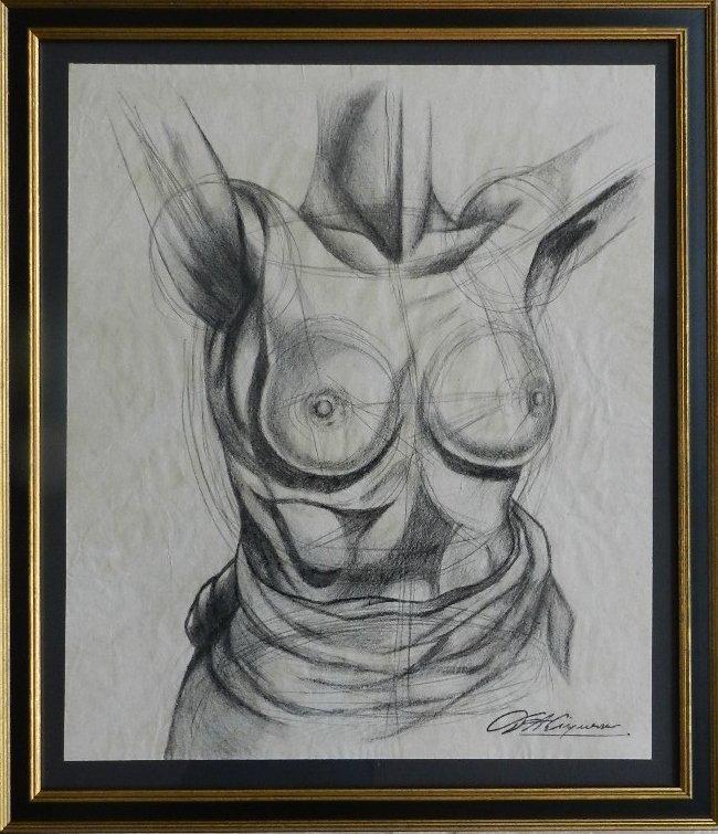 64: David Alfaro Siqueiros (Mexican) Charcoal Sketch