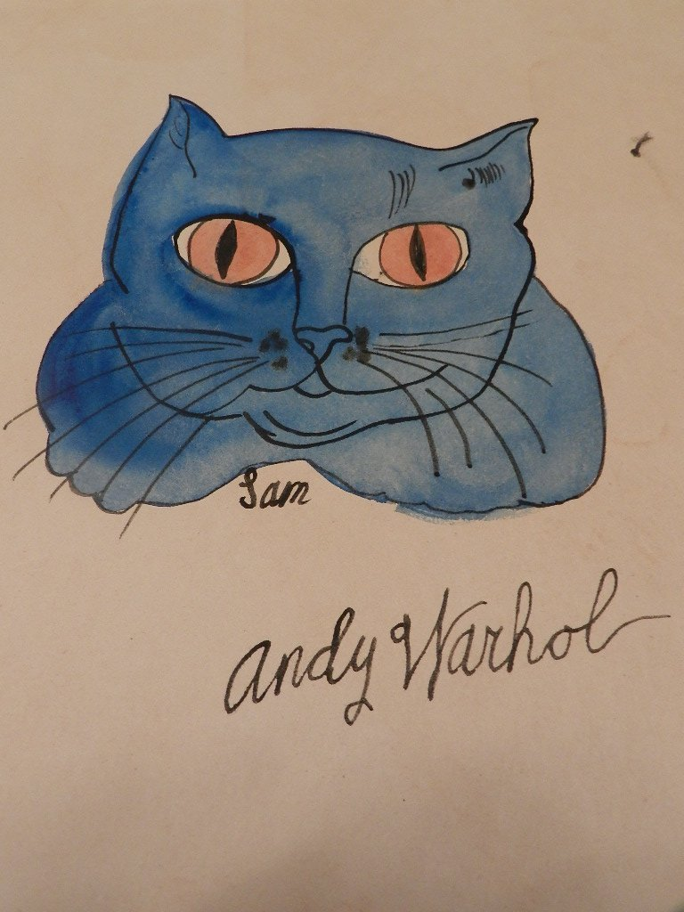 "49: ""Sam the Cat"" Watercolor on Paper Signed Warhol"