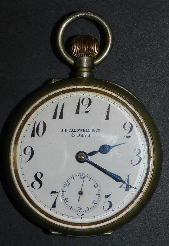 8: J.E. Caldwell 8 Day Pocket Watch