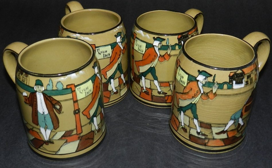 6: 4 Buffalo Pottery Deldare Ware Mugs