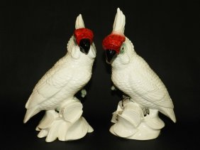 2: Pair of Cockatoo Bird Figurines by Napco