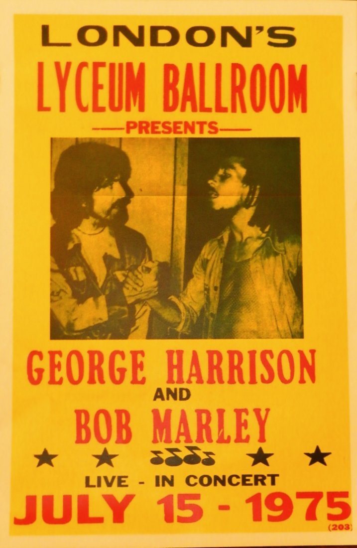 1975 Bob Marley and George Harrison Concert Poster