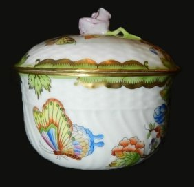 13: Herend Hand Painted Covered Large Sugar Bowl