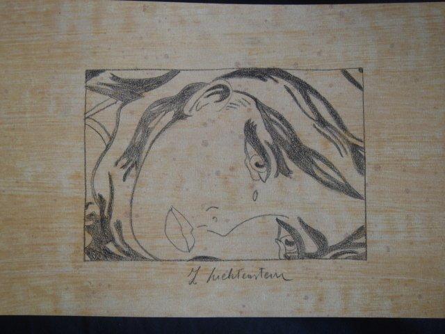 Charcoal Sketch Signed Lichtenstein After