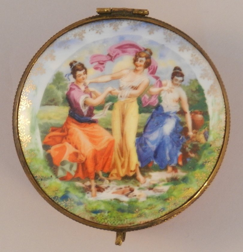 19th Century Enamel Hand Painted Jewelry Box