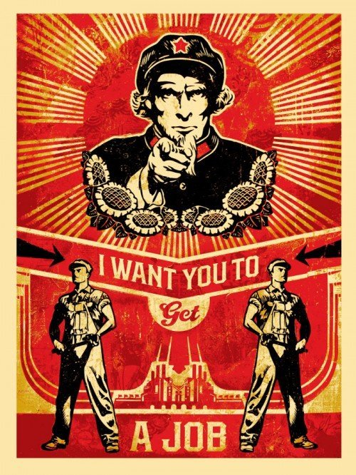"Shepard Fairey ""Get a Job""  Litho Hand Signed"