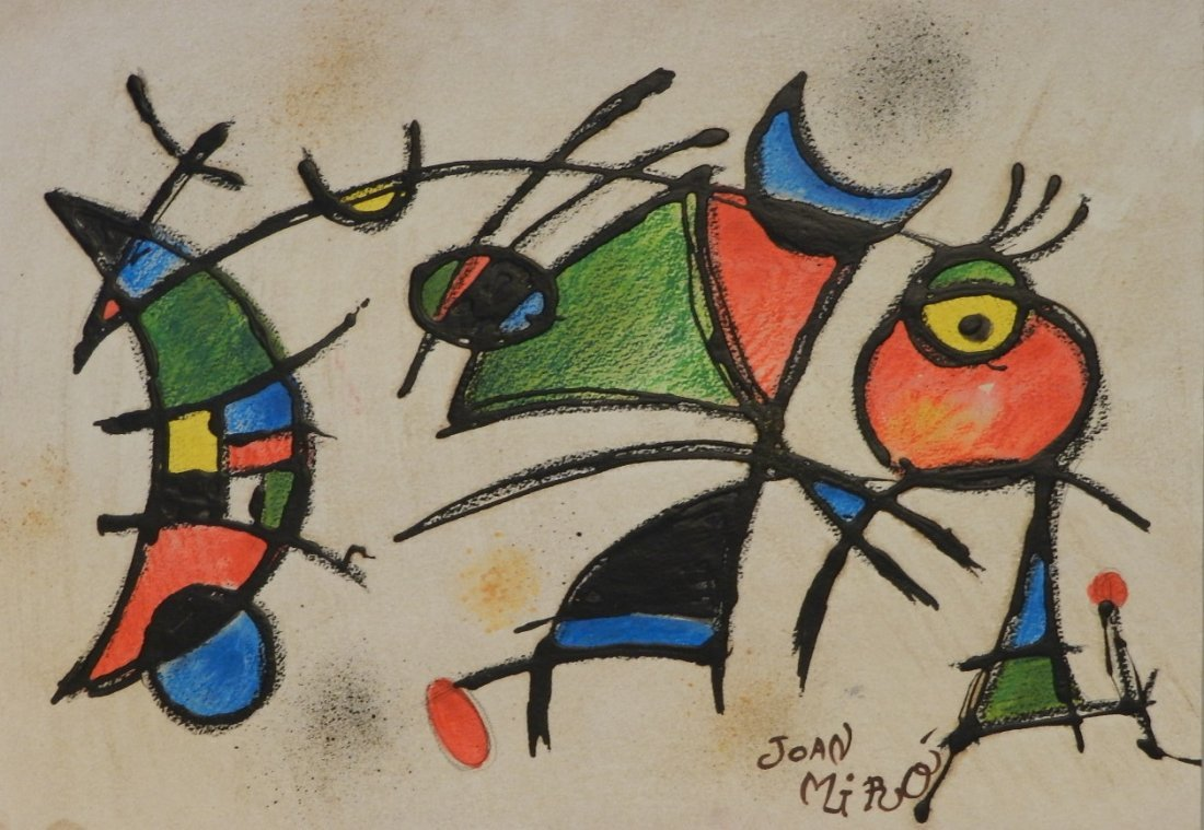 Mixed Media on Paper Signed Joan Miro