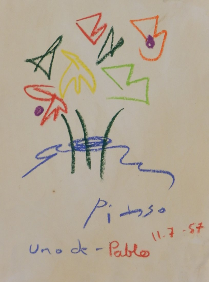 Pastel on Paper Signed Picasso