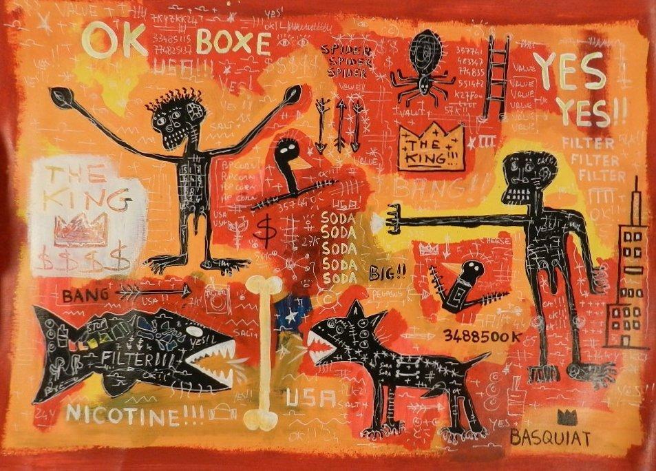 JEAN-MICHEL BASQUIAT (American, 1960-1988) Oil