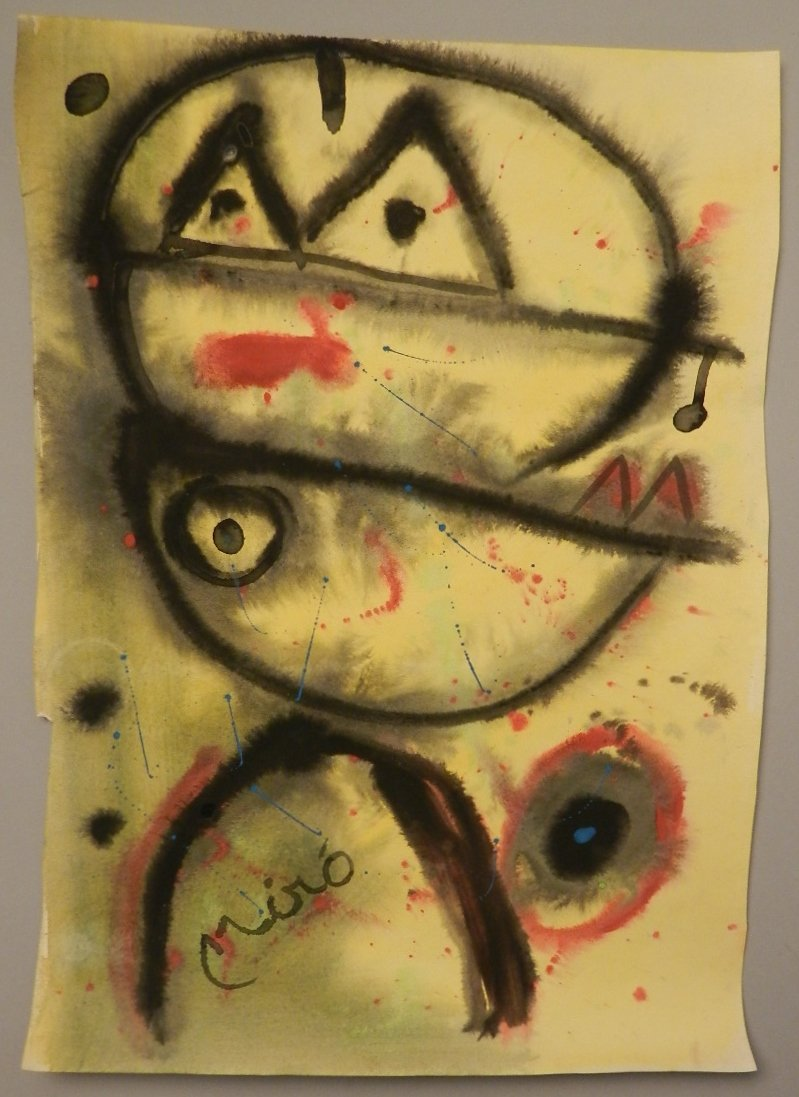 Bears the Signature of Joan Miro Watercolor on Paper