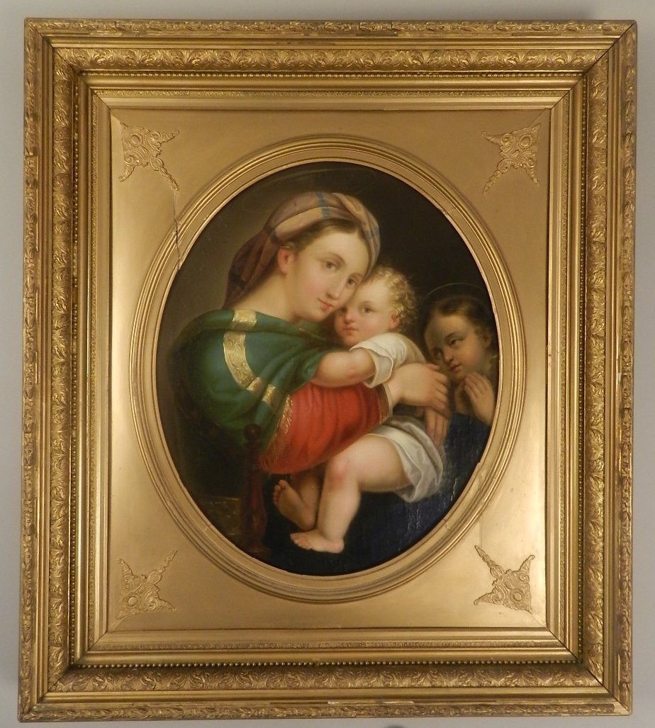After Raphael Oil On Canvas Madonna And Child 19th c