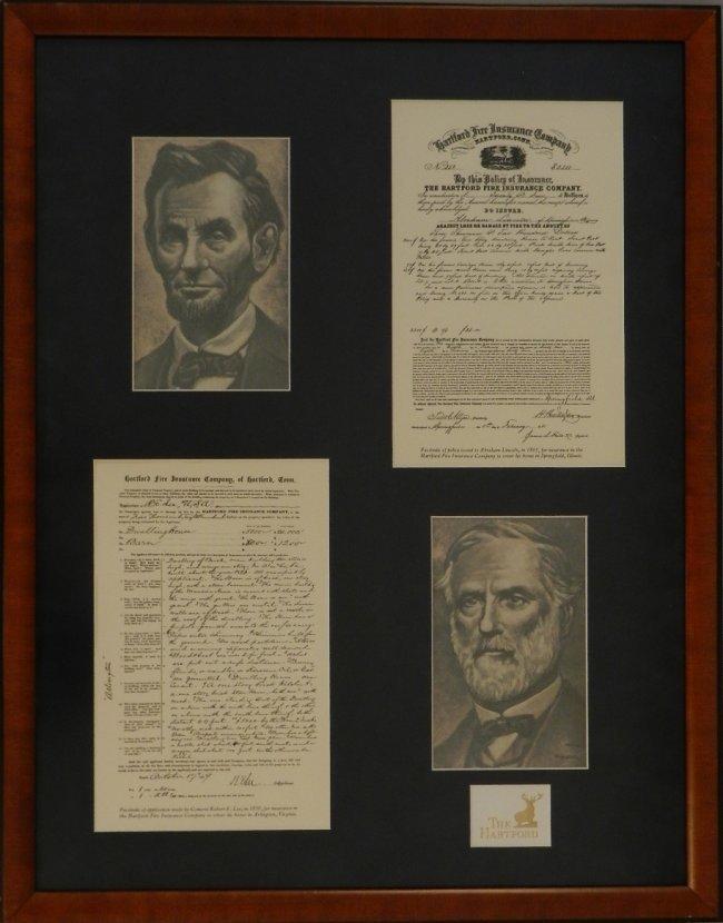 Robert E. Lee & Abraham Lincoln Framed Documents