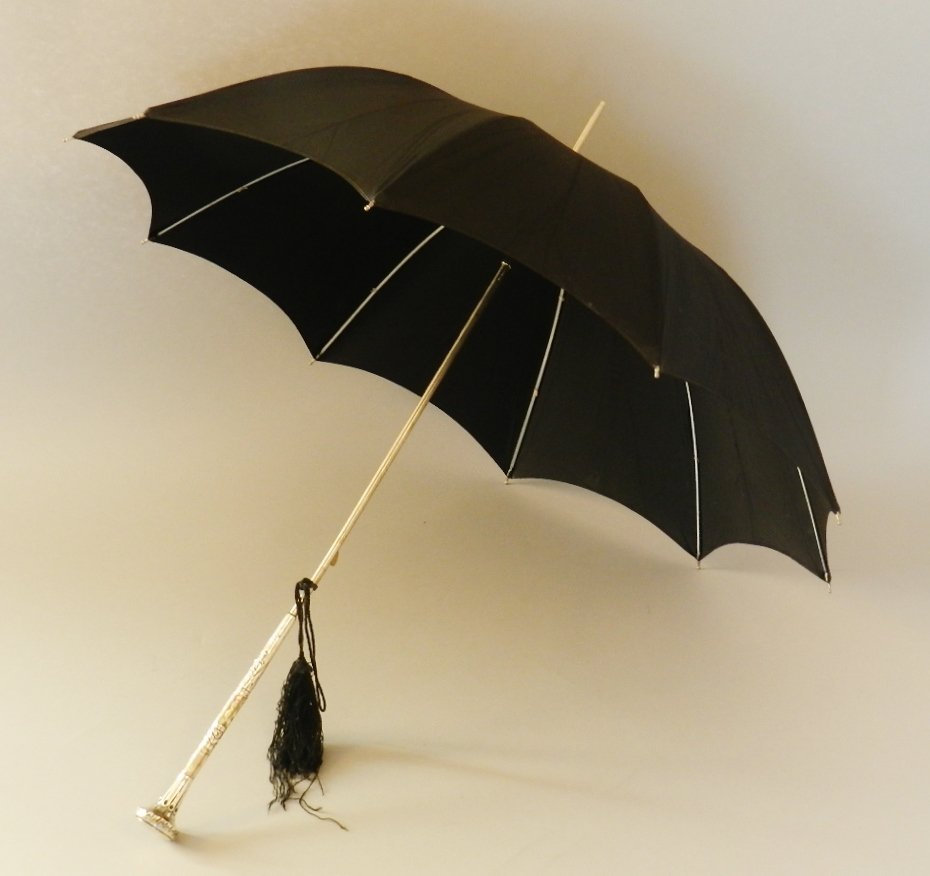 Black Parasol with Sterling Handle