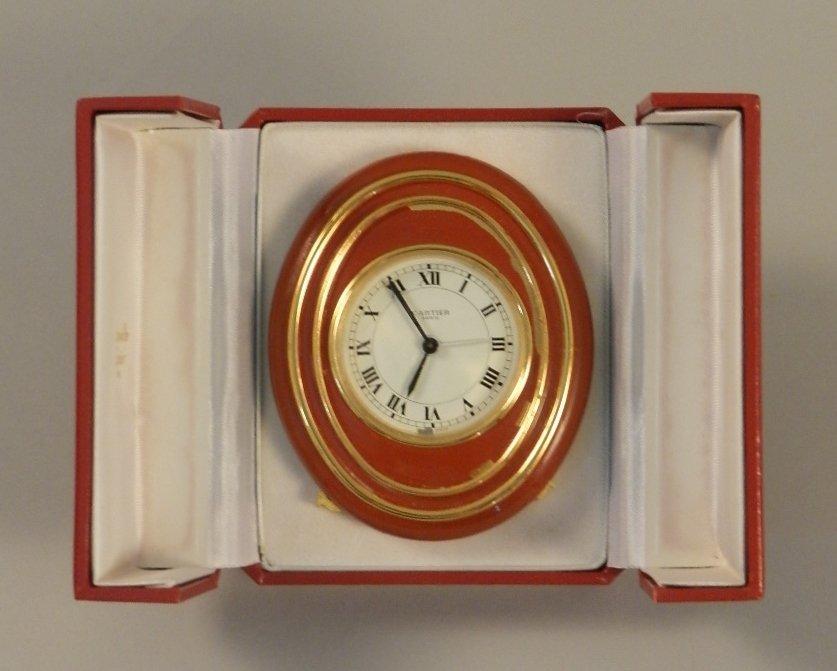 Cartier Red Enamel Desk Clock