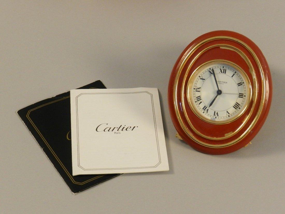 Cartier Red Enamel Desk Clock - 2