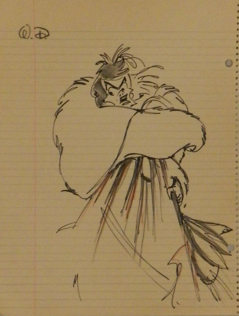 Cruella De Vil Character Sketch Signed Walt Disney